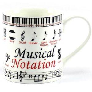 taza musical con notas