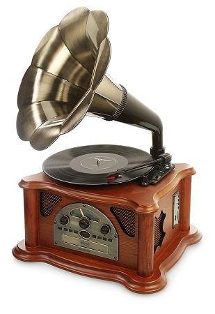 Tocadiscos retro con forma de trompeta | El Regalo Musical
