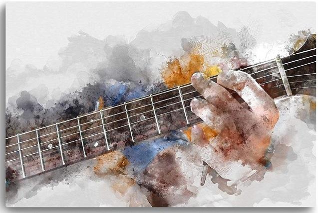 comprar cuadro moderno guitarra abstracta precio barato online